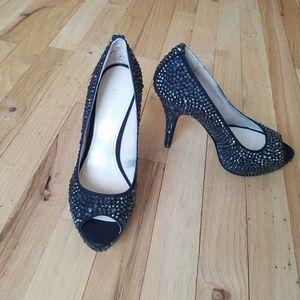 Enzo Angiolini black sparkle heel